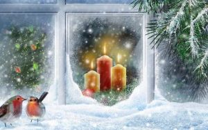 зима, свечи,Рождество