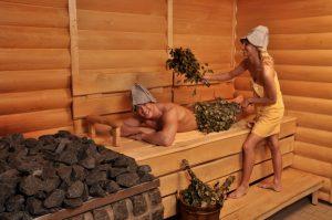 русская баня, массаж веником