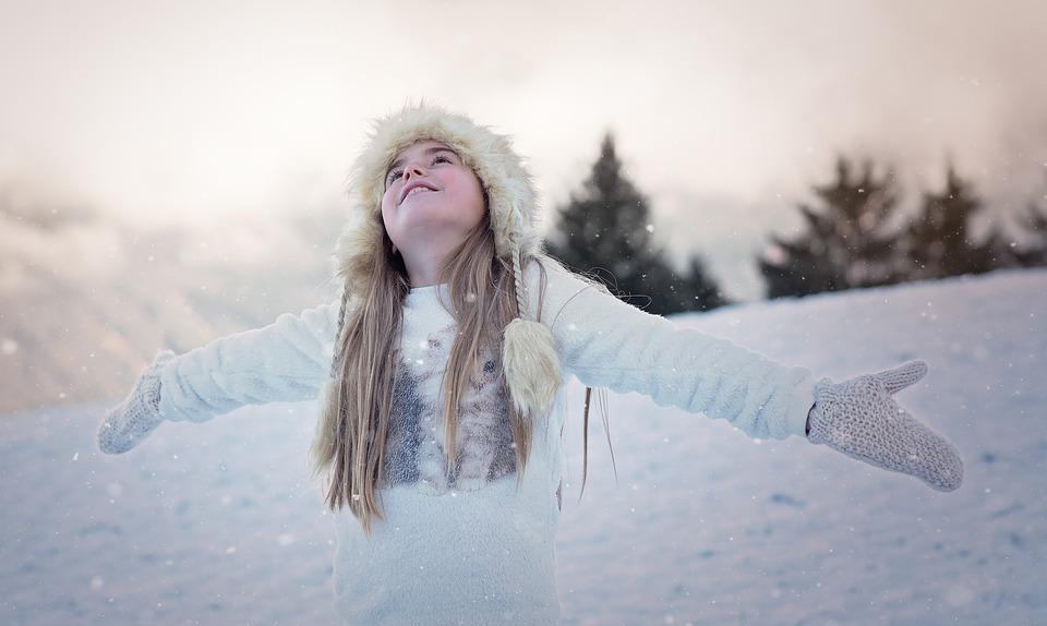 зима снег девушка
