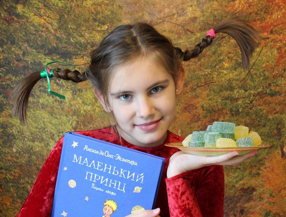 девочка с косичками и книгой в руках