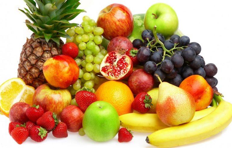 ананас, яблоко, гранат, виноград,апельсин
