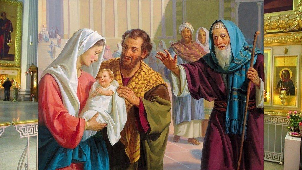 Мария и Иосиф в храме с младенцем