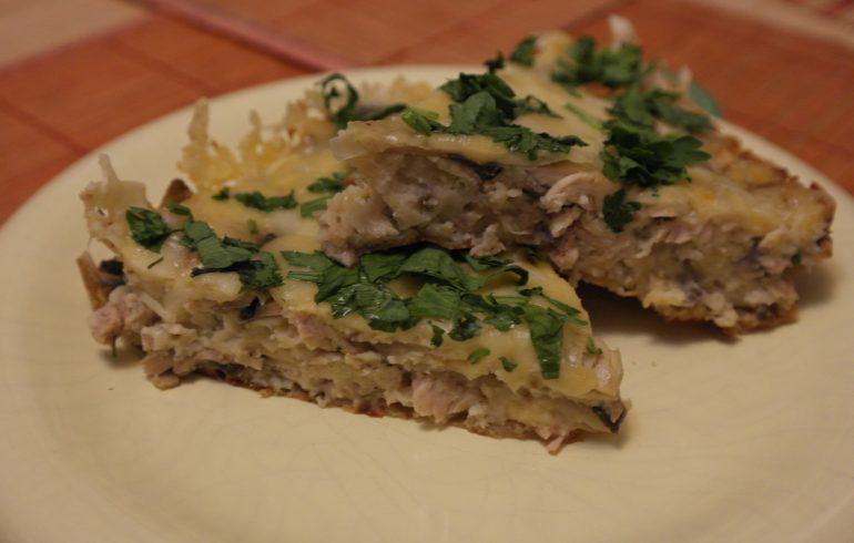 пирог, рецерт, курица, грибы
