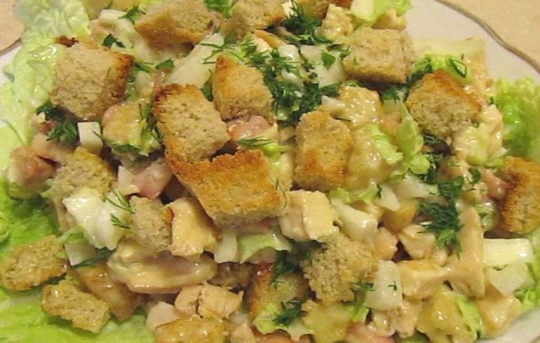 цезарь, пекинская капуста, салат, рецепты
