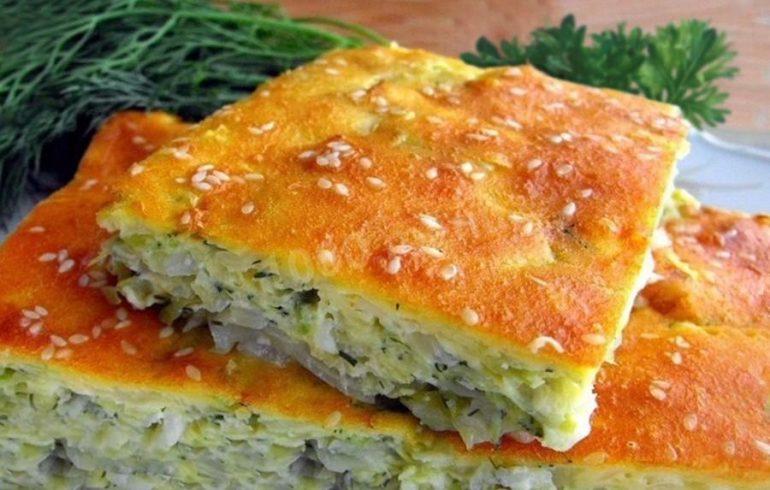 Готовим капустный пирог с кунжутом