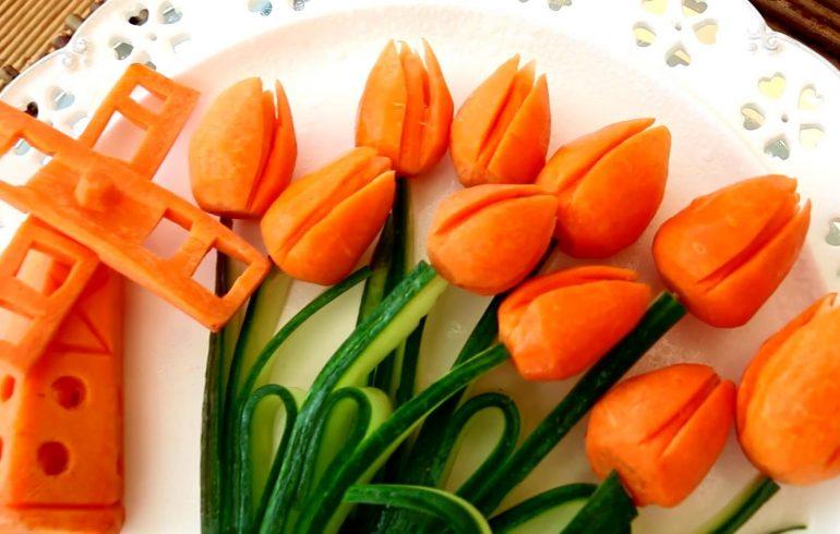 Как украсить праздничные блюда при помощи карвинга