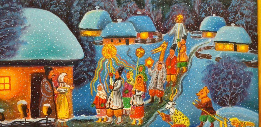 Картина Рождество в украинском селе
