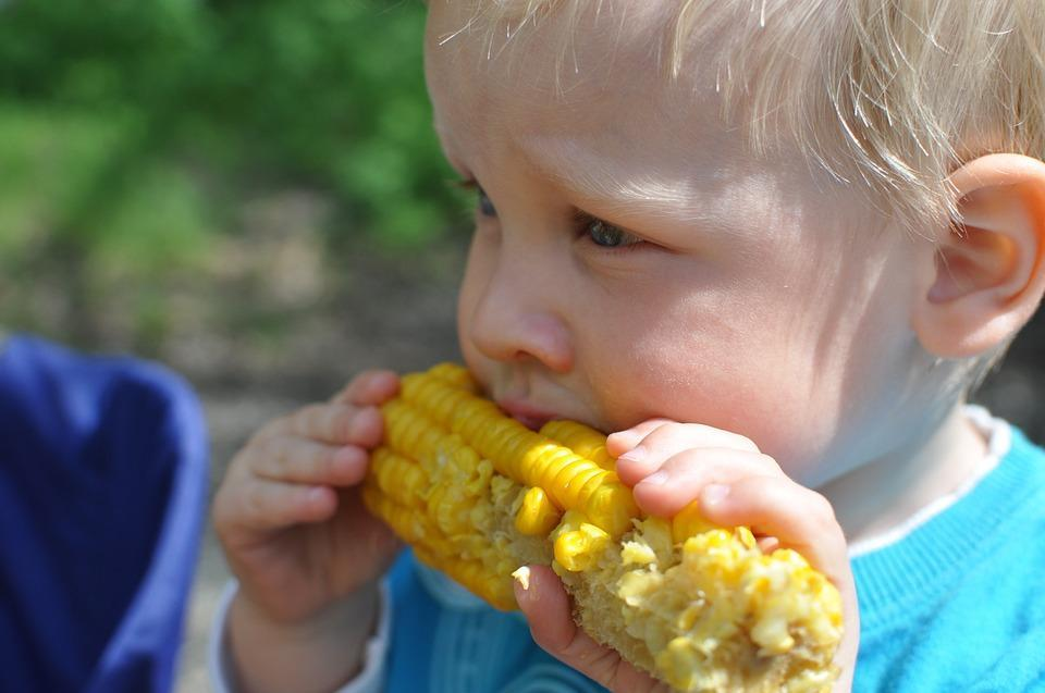 ребенок есть кукурузу