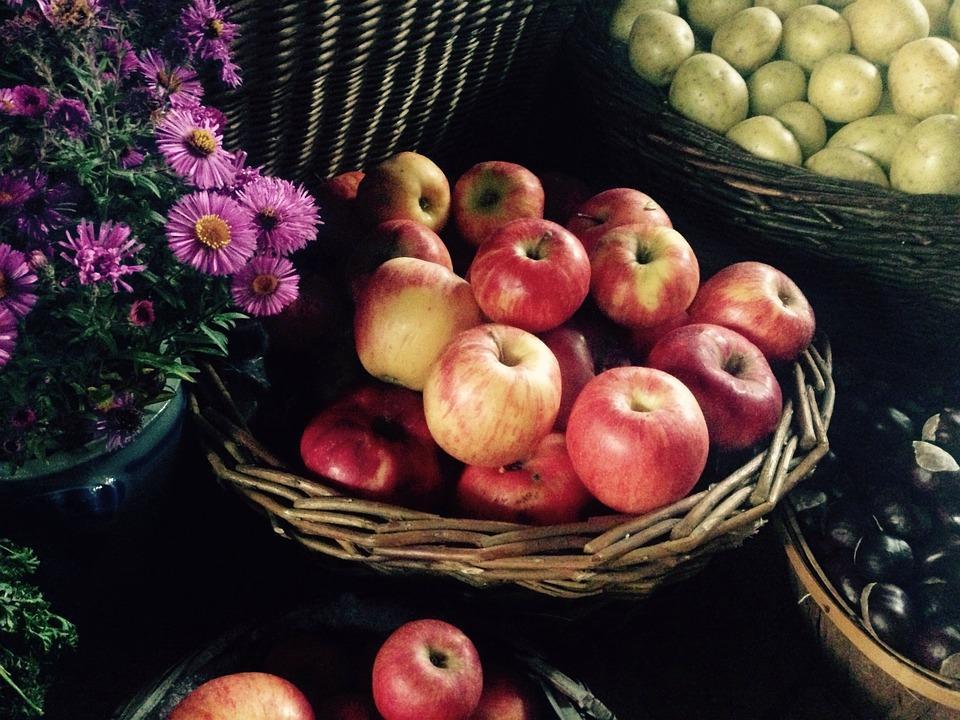 яблок зимних сортов в корзинах