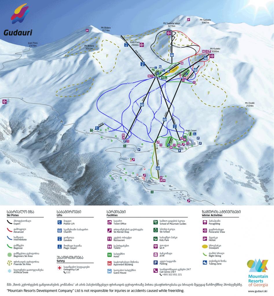 карта лыжных трасс в Гудаури