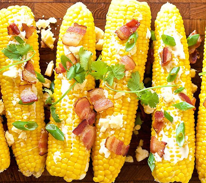 кукуруза с беконом и сыром фета